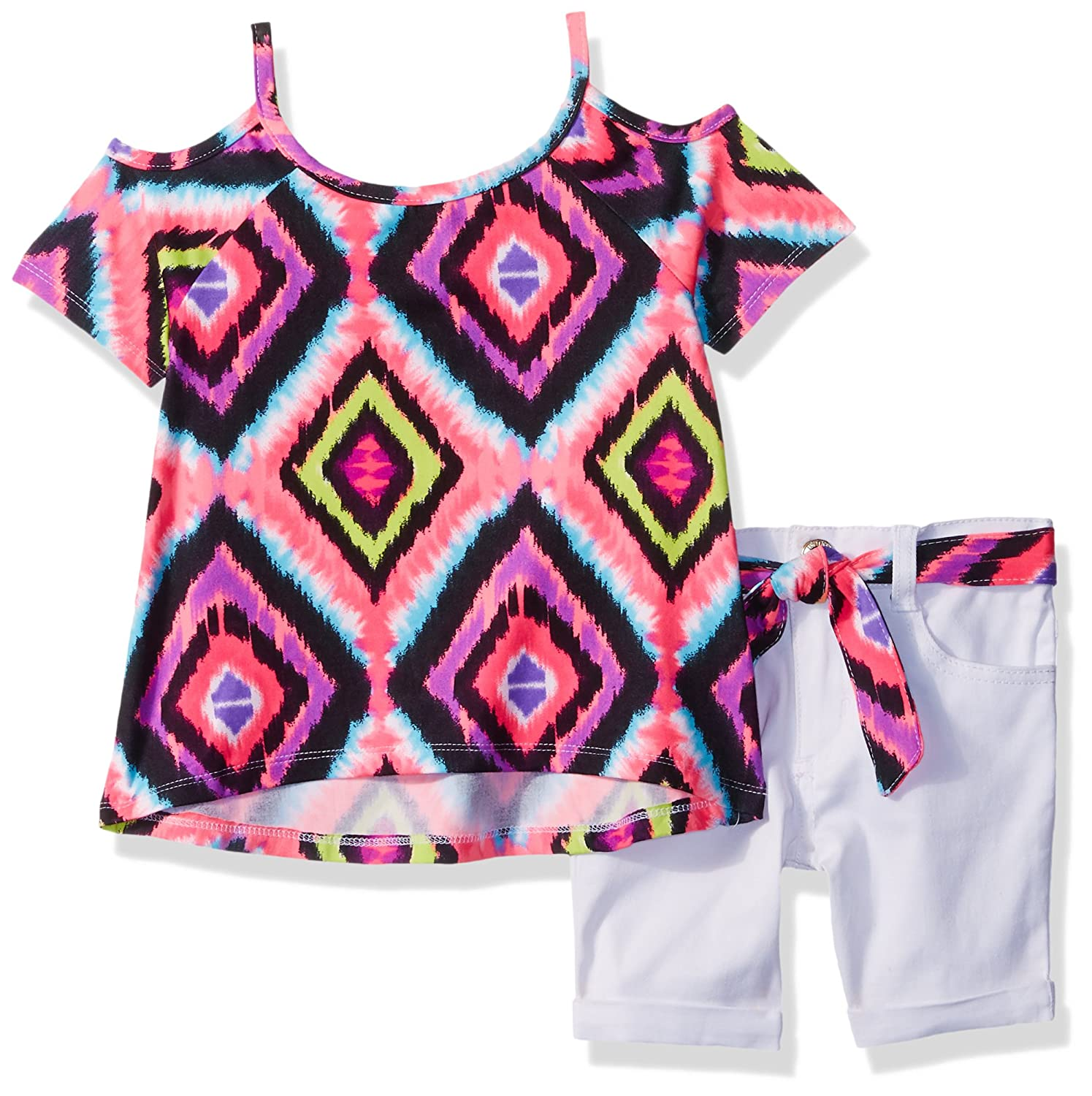 Limited Too girls 2 Piece Bohemian Blouse and Belted 5 Pocket Short 2761_1