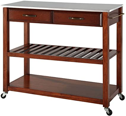 Crosley Furniture Portable Kitchen Cart with Stainless Steel Top - Classic  Cherry