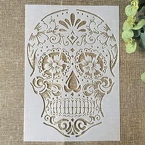Yhnmlp 29 * 21cm Skeleton Skull DIY Layering Stencils
