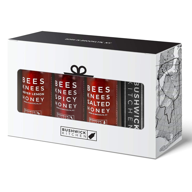 Bushwick Kitchen Bees Knees Honey Sampler Gift Box, Set Includes Spicy Honey, Meyer Lemon Honey, Salted Honey Sauces, Honey Inspired Recipes, Bushwick Kitchen Tea Towel, and Ready-to-Gift Box