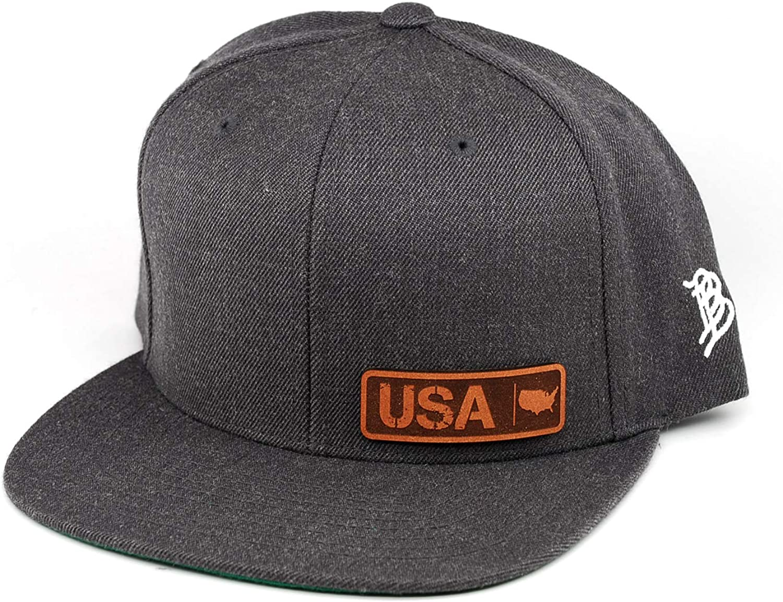 Branded Bills /'USA Native Leather Patch Snapback Hat OSFA//Charcoal