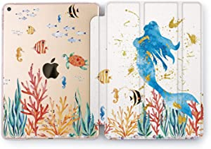 Wonder Wild Watercolor Mermaid Hard Watercolor Case iPad Mini 1 2 3 4 Air 2 Tablet Pro 10.5 12.9 2018 2017 9.7 inch Little 5th 6th Cover Cartoon Character Design Clear Print Fish Girly