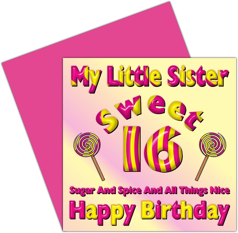 Remarkable My Little Sister Sweet 16 Happy Birthday Card 16Th Birthday Funny Birthday Cards Online Elaedamsfinfo