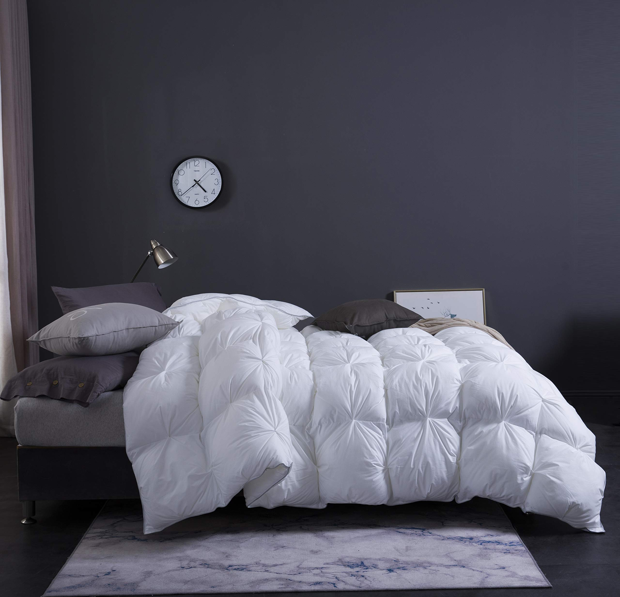 WENERSI White Goose Down Comforter,Beautiful Twisted Flower,1000Thread Count 100% Egyptian Cotton Fabric,All Season King Comforter