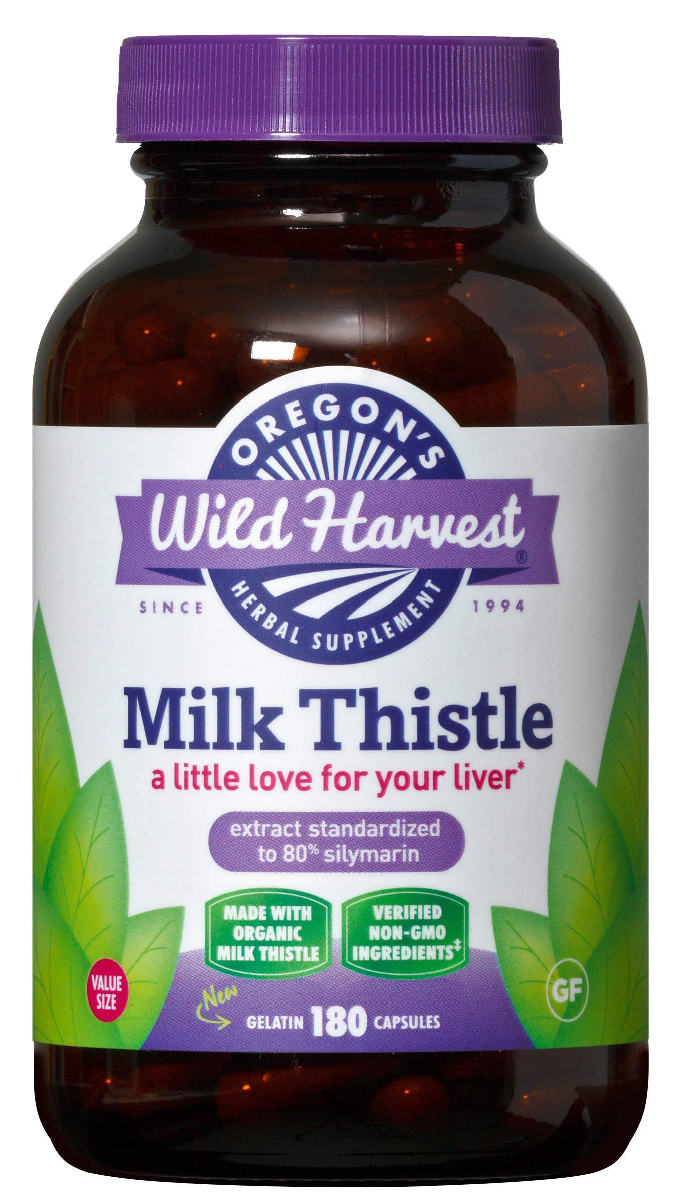 Oregon's Wild Harvest Milk Thistle Organic Non-GMO Herbal Supplement, 180Count
