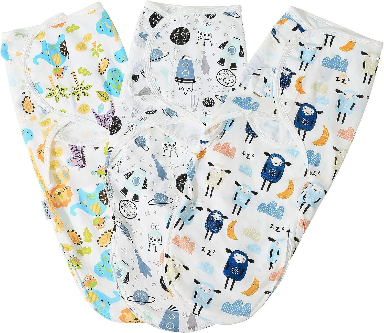 Lekebaby Baby Swaddle Wrap Newborn Blanket 0-3 Months Unisex 100/% Organic Cotton Swaddles Pack of 3 Swaddles