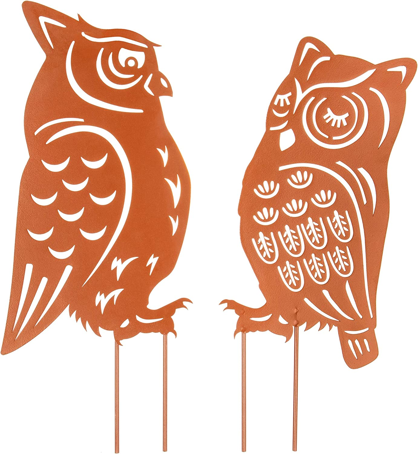 Homarden Metal Animal Yard Decor - Owl Shaped Garden Art for Outside Decorations - Outdoor Decorative Stake Accessories and Lawn Ornaments - Ornamental Gardening Stakes for Decoration - 2 Piece Set