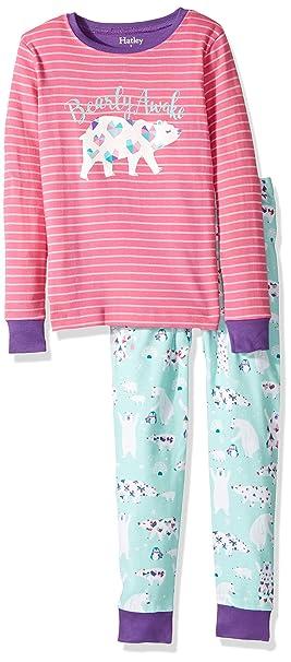 Hatley 100% Organic Cotton Long Sleeve Appliqué Pyjama Sets, Conjuntos de Pijama para Niñas