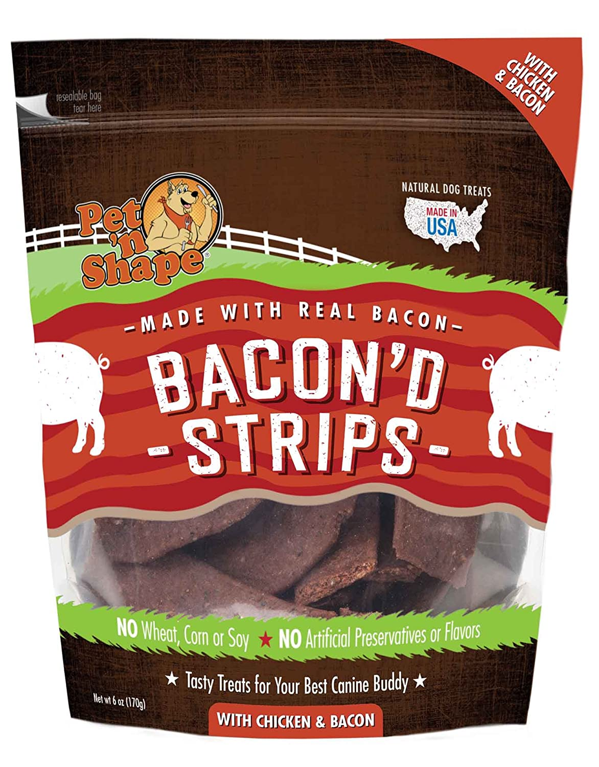 Amazon.com : Pet 'N Shape 12511 Bacon'D Strips With Chicken And Bacon Dog  Treats (2 Pack), 6 Oz : Pet Supplies