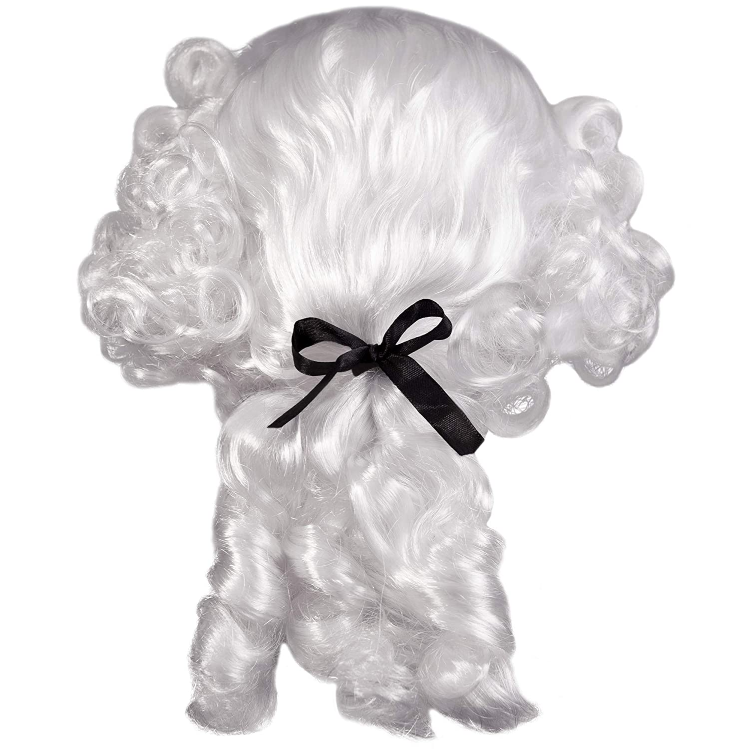 Headwear Funny Adults Hats Colonial Powdered Wig Plays Curly White Hair with Ponytail for Costumes Props for Halloween Adult Size Wigs Projects Dress Up Accessories One Size