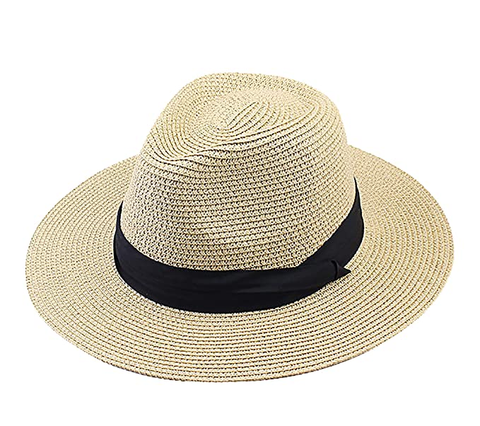0b9002a145ee55 IL Caldo Women Wide Brim Straw Panama Roll up Summer Hat Fedora Beach Sun  Hat Cap