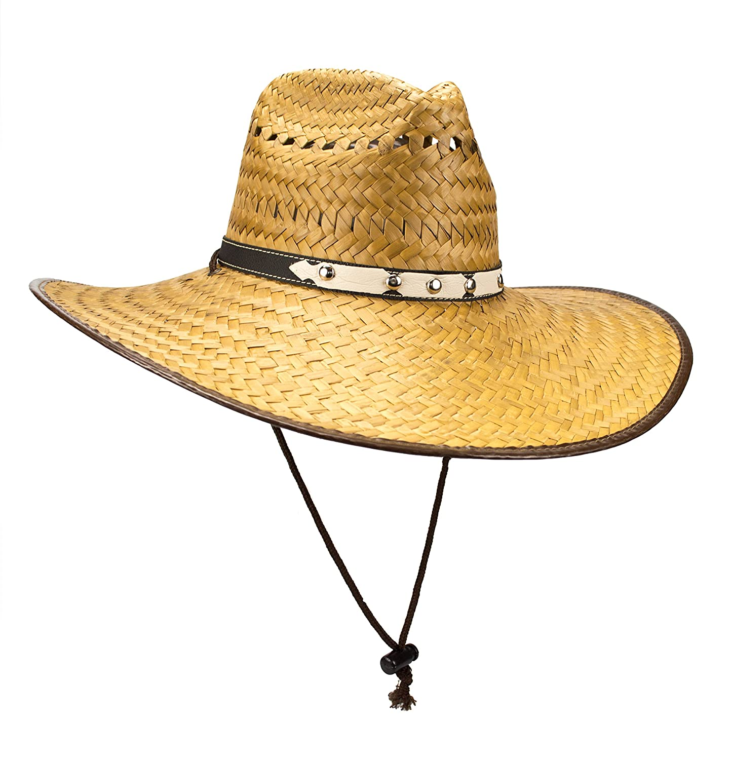 Rising Phoenix Super Wide Brim Cowboy Lifeguard Palm Leaf Straw Hat, Flex Fit, Chin Strap, L Chin Strap (Cowboy)
