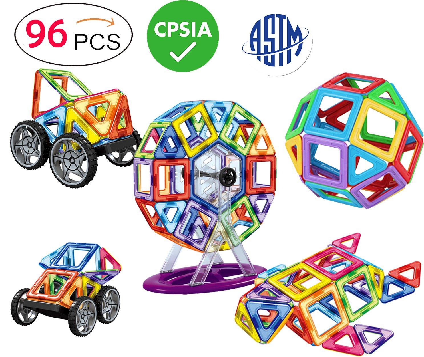 DreambuilderToy 96 PCS Magnetic Tiles Set, STEM Building Block Preschool Educational Construction Kit,3D Magnetic Toys (96 Pieces) Review