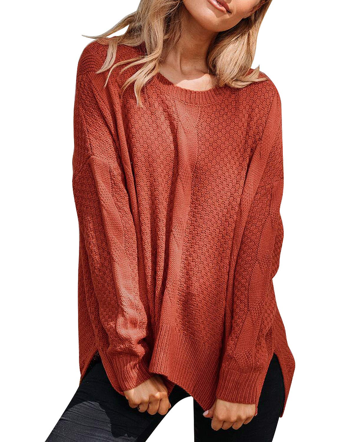 ACKKIA Women Casual Ribbed Cable Knit Sweater Textured Slit Jumper Pullover Tops Rust Red Small (Fits US 4-US 6)