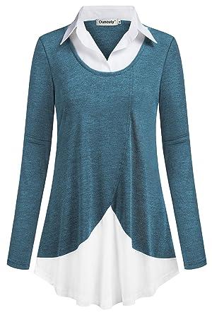 50395504b3cb Ouncuty Women Casual Long Sleeve Collar Patchwork Flowy Office ...