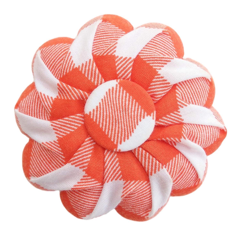 Orange Buffalo Plaid Tartan Checkered White Pin Needle Cushion Pincushion Sewing Cute Small Size Pumpkin Pins Needles Pincushions Holder Safety for Sewing Girl Women gift Craft Handmade Quilting
