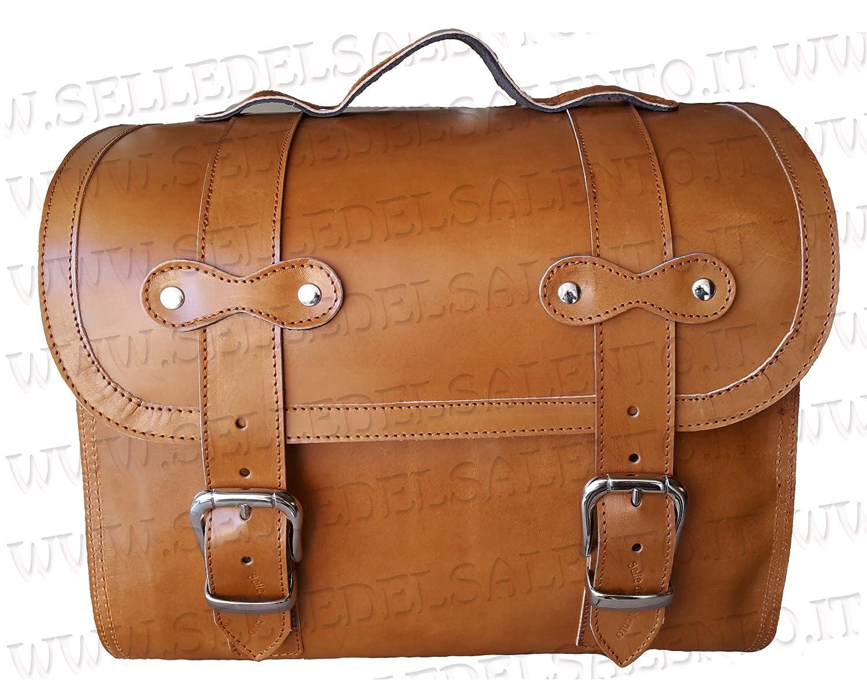 Bauletto borsone borsa Vespa Lambretta portapacchi vera pelle col cuoio valigia moto custom Selle del Salento