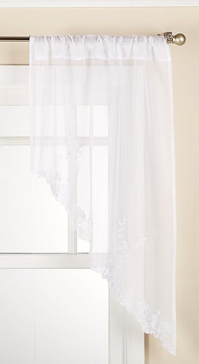LORRAINE HOME FASHIONS Laurel Swag Pair, 60 Inches x 38 Inches, White