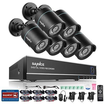 SANNCE Kits de 6 cámaras de vigilancia sistema de seguridad (H.264 Onvif CCTV