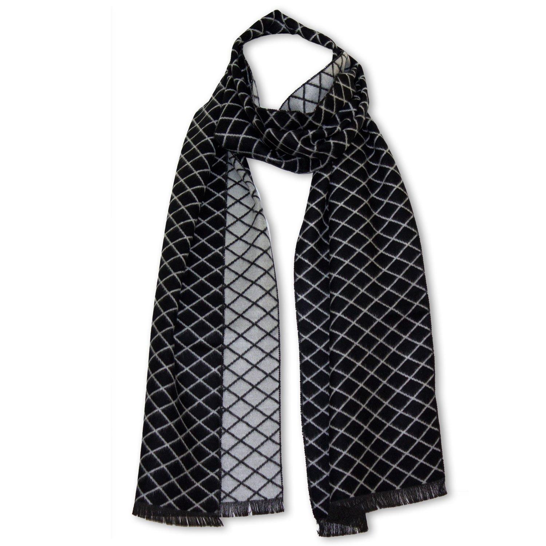 StrayKat Men's Silk Viscose Soft Reversible Scarf, Designer Gift Box, O/S (Gray Checkered)