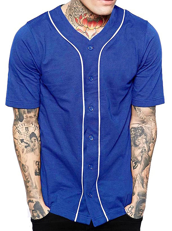 メンズ ベースボール ボタンタウン ジャージ ヒップスター ヒップホップ Tシャツ 1UPA01 B06XS316F7 M|ロイヤル/ホワイト ロイヤル/ホワイト M