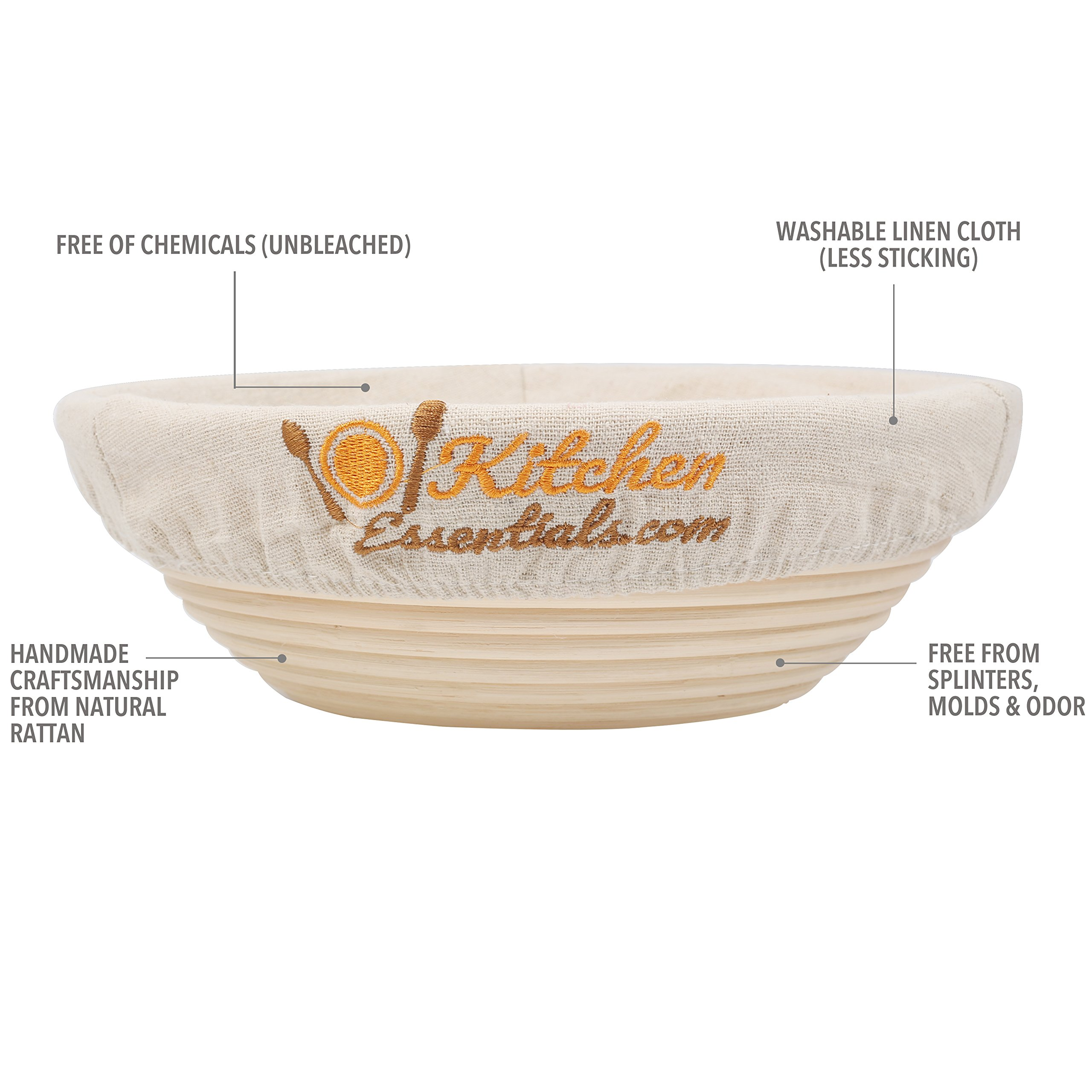 4-In-1 Set of Banneton Bread Proofing Basket (10 Inch) + Liner + Scraper + Linen Bag - Round Brotform Proofing Basket/Banetton Brotform Bowl - Best for Artisan Bread Making Sourdough, Rye & Others by 101KitchenEssentials (Image #5)