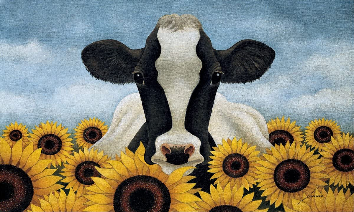 Lang 3210049 Surrounded by Sunflowers Door Mat by Lowell Herrero, 30 x 18