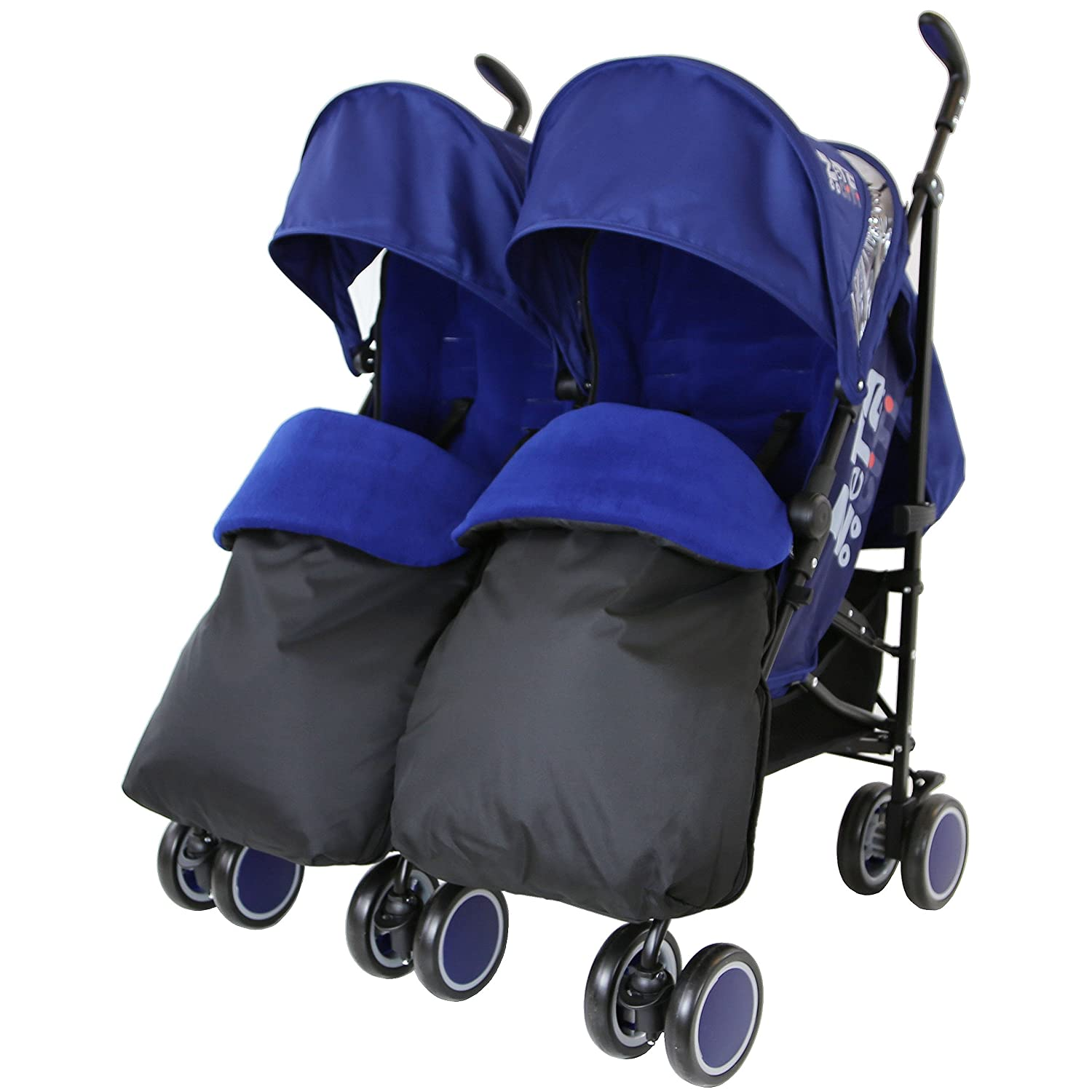 Zeta Citi TWIN Stroller Buggy Pushchair - Navy (Dark Blue) Double Stroller Complete With FootMuffs Baby TravelTM