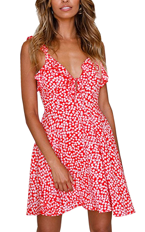 340b8a4b59b Angashion Women s Dresses-Floral Print Sleeveless Ruffle V Neck A Line  Swing Mini Dress at Amazon Women s Clothing store