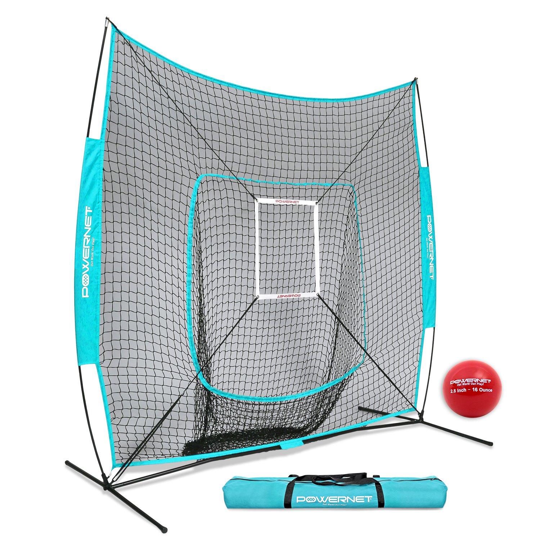 PowerNet DLX 7x7 Baseball Softball Hitting Net + Weighted Heavy Ball + Strike Zone Bundle (Sky Blue) | Training Set | Practice Equipment Batting Soft Toss Pitching | Team Color | Portable Backstop