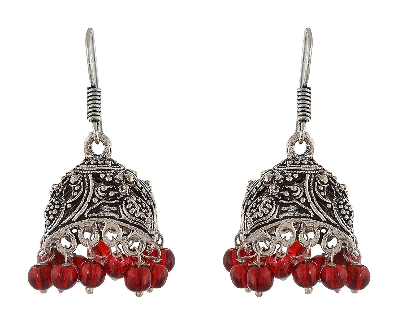 Subharpit Red Oxidized Silver Metal Indian Jhumka Jhumki Earrings for Women /& Girls