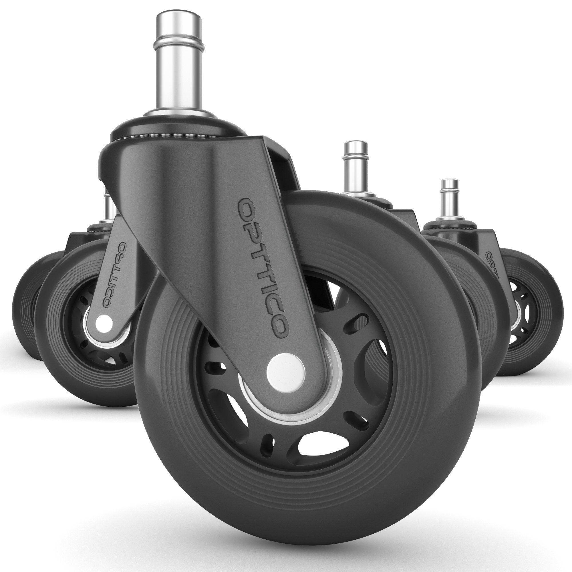 OPTTICO Office Chair Caster Wheels Replacement - Black 3 Inch Desk Chair Wheels - No Chair MAT for Hardwood Floor Needed - Rollerblade Style Heavy Duty Computer Chair Casters with Soft Rubber Wheels. by OPTTICO