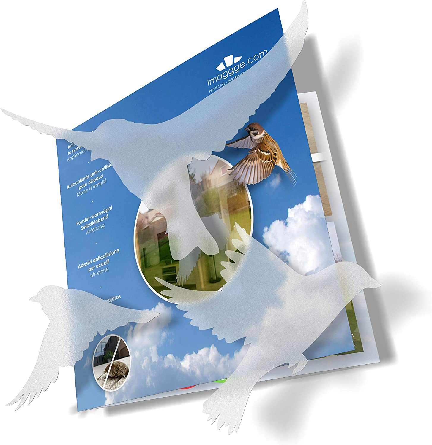 Anti-Collision Stickers to Prevent Bird Strikes on Window Glass - Set of 20 Silhouettes - Color: Translucent/Dusted - Window Clings Decals - Birds Prevention Deflectors Reflectors