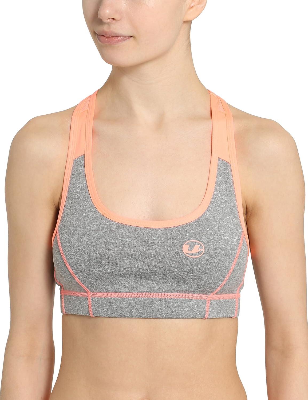 Ultrasport Advanced Damen Fitness-/Sport Bustier / BH, ideal für Fitness, Yoga und Jogging, Meshrückenteil in Kontrast, Stretch, uneingeschränkte Bewegungsfreiheit und hoher Tragekomfort