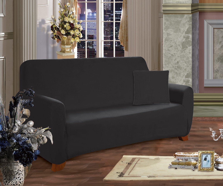 (Love Seat, Black)Elegant Comfort Luxury Furniture Jersey STRETCH SLIPCOVER, Loveseat Black B00JKZPLGE Love Seat ブラック ブラック Love Seat