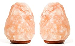 EdenSalt Salt Lamp ES-5410 Himalayan Natural Ionizing 6-9 Pound Lamp Polished Wood Base 6 Feet Cord Bulb Twin Pack