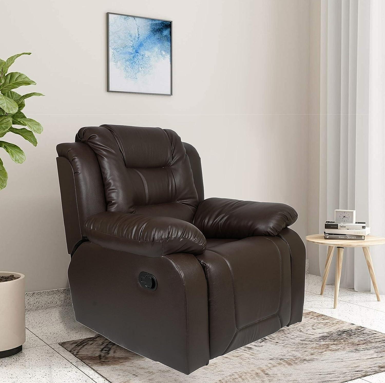 1.AE Designs Single Seater Recliner Sofa In Dark Brown
