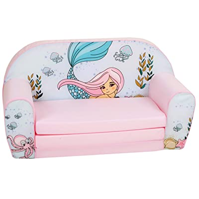DELSIT Children's 2 in 1 Flip Open Foam Double Sofa, Children Sofa, Kids Foldable Sofa, Kids Sofa, Kids Couch - Premium Quality, European Made, Lightweight, Safe, Washable (Mermaid): Kitchen & Dining