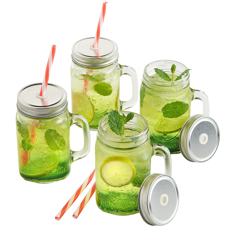 vonshef mason jar glass drinking jam jars set of 4 450ml glasses with reusable straws twist lids u0026 handles amazoncouk kitchen u0026 home - Mason Jar Glasses