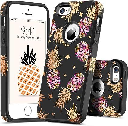 Guagua iPhone SE Coque iPhone 5S Coque iPhone 5 Ananas Slim Hybride Rigide PC Flexible TPU Brillant Coque de Protection Résistant aux Chocs Coque de ...