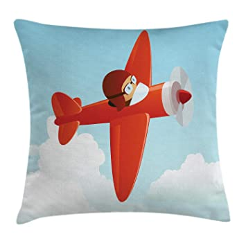 Buy Ambesonne Plane Throw Pillow Cushion Cover Airplane Flying In The Cloudy Sky Little Boy Pilot Baby Children Cartoon Print Decorative Square Accent Pillow Case 20 X 20 Orange Blue Online At