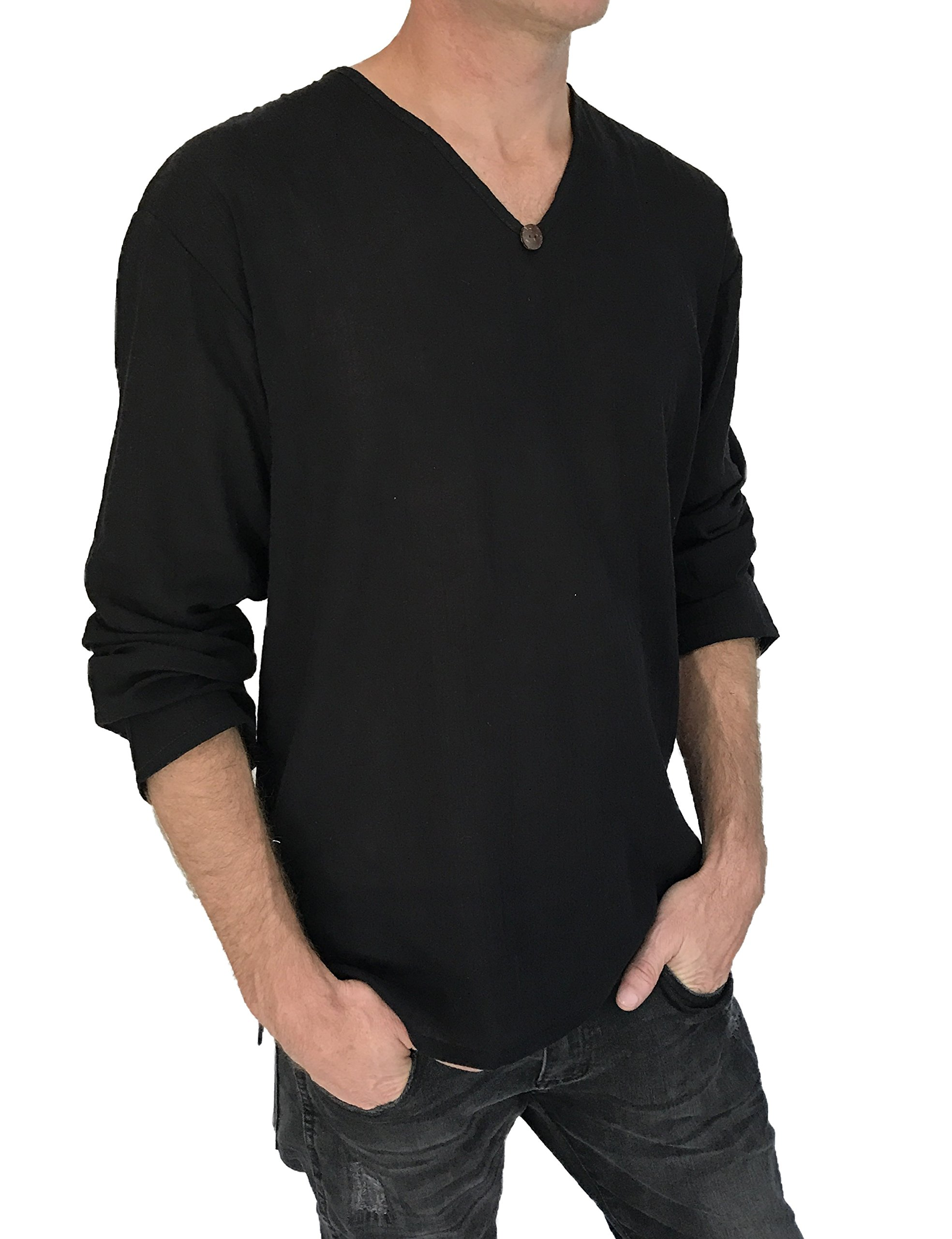 Love Quality Men's T-Shirt 100% Cotton Hippie Shirt Beach Yoga Top Feature Button (Medium, Black) by Love Quality (Image #4)