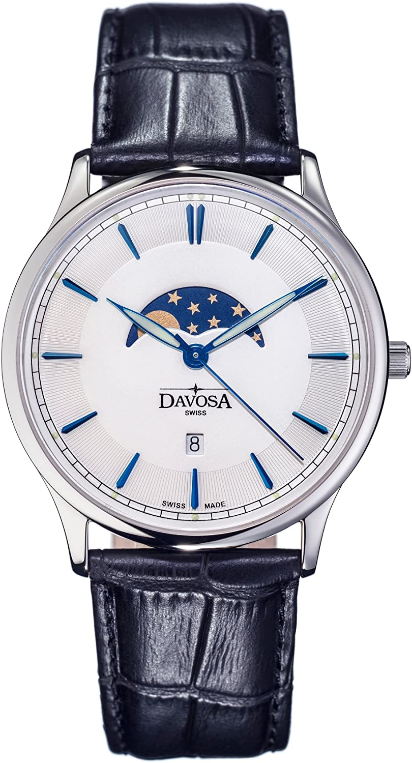 Davosa Swiss Made Quartz Movement Men s Leather Strap Wrist Analog Watch Flatline Phase of Moon