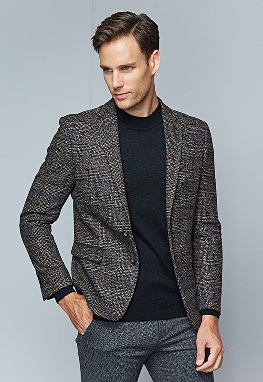 UNbox Mens Dress Casual Business Suit Two Button Slim Fit Suit Khaki XL by UNbox (Image #3)