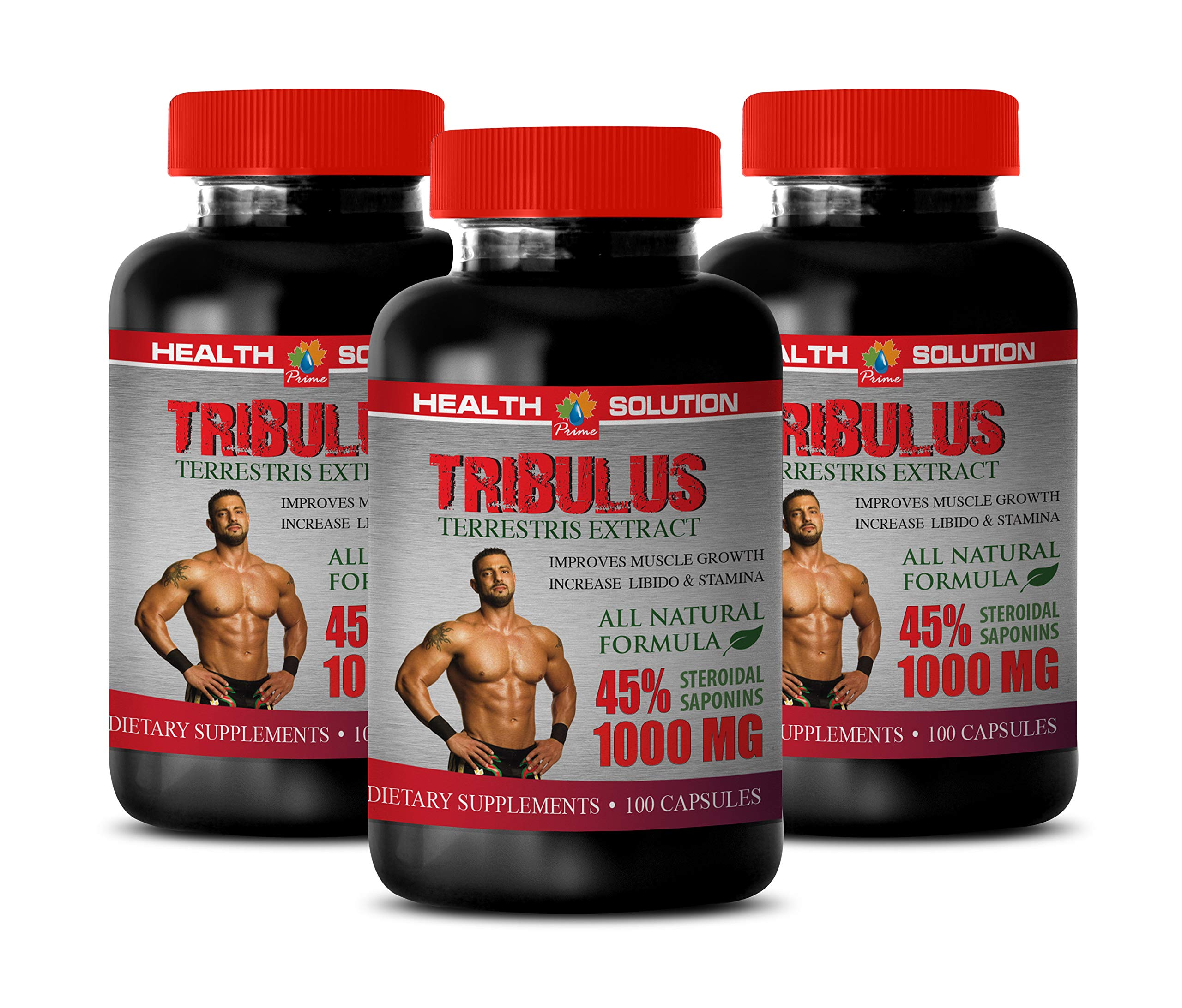 Muscle gain Supplements - TRIBULUS TERRESTRIS 1000MG - 45% STEROIDAL SAPONINS - tribulus Ultra - 3 Bottles (300 Capsules)