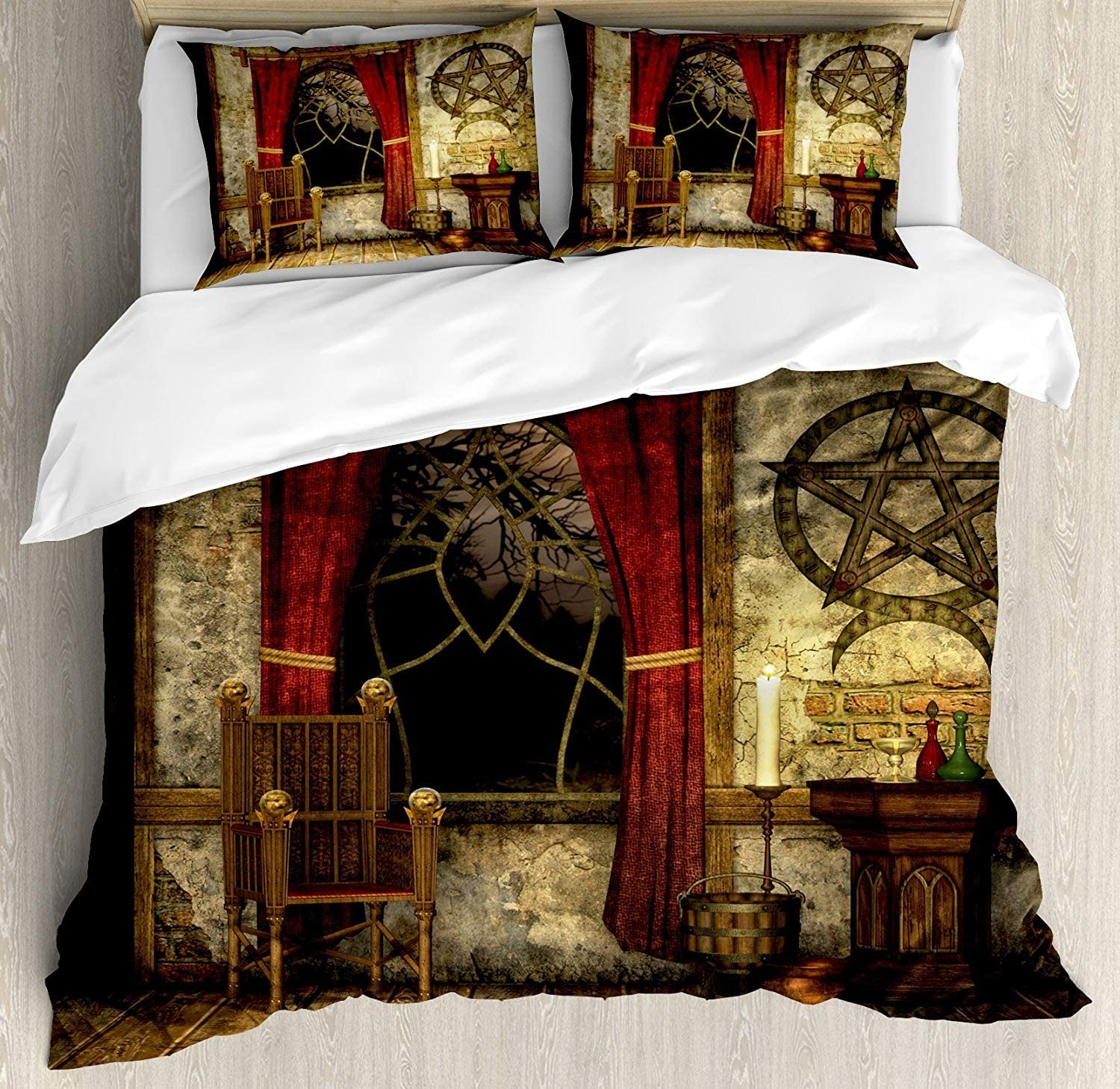 Gothic 3 Pieces Duvet Cover Set, Ancient Pentagram Symbol and Red Curtains in Mystical Medieval Chamber Spiritual Theme, Decorative Bedding Sets, Comforter Cover with 2 Pillow Shams, Brown,King Size
