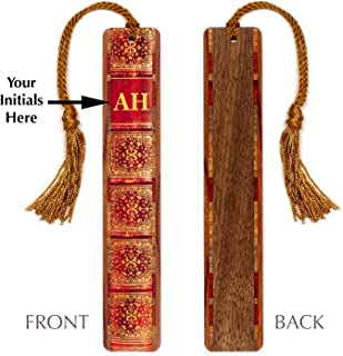 product image for Monogrammed Wooden Bookmark - Antique Book Spine Design with Tassel
