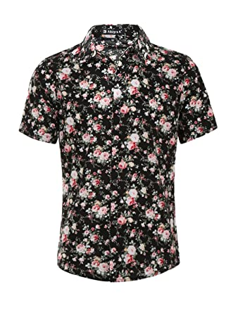 Allegra K Men Short Sleeves Button Front Floral Print Shirt at ...