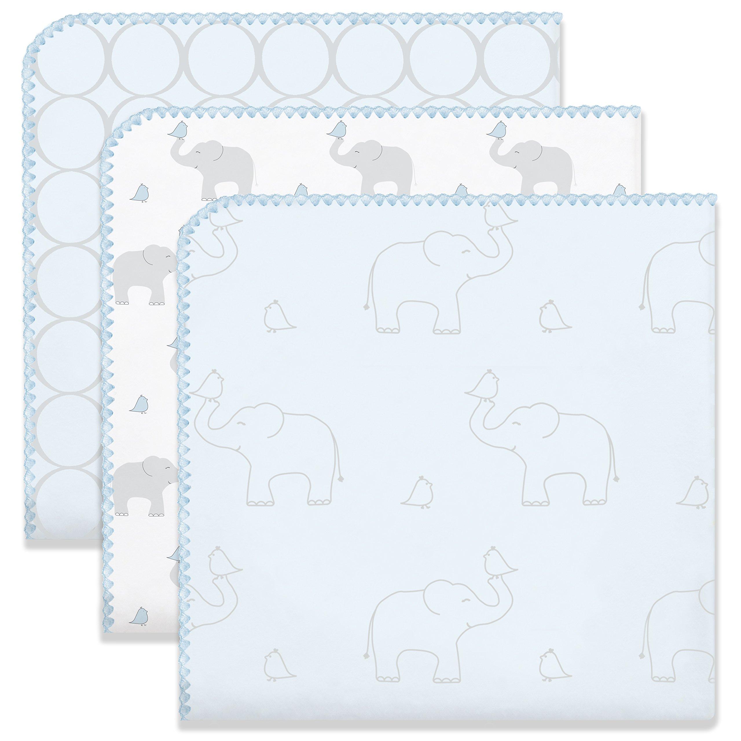 SwaddleDesigns Ultimate Swaddle Blankets, Set of 3, Mod Circles and Elephants, Sunwashed Blue (Mom's Choice Award Winner)