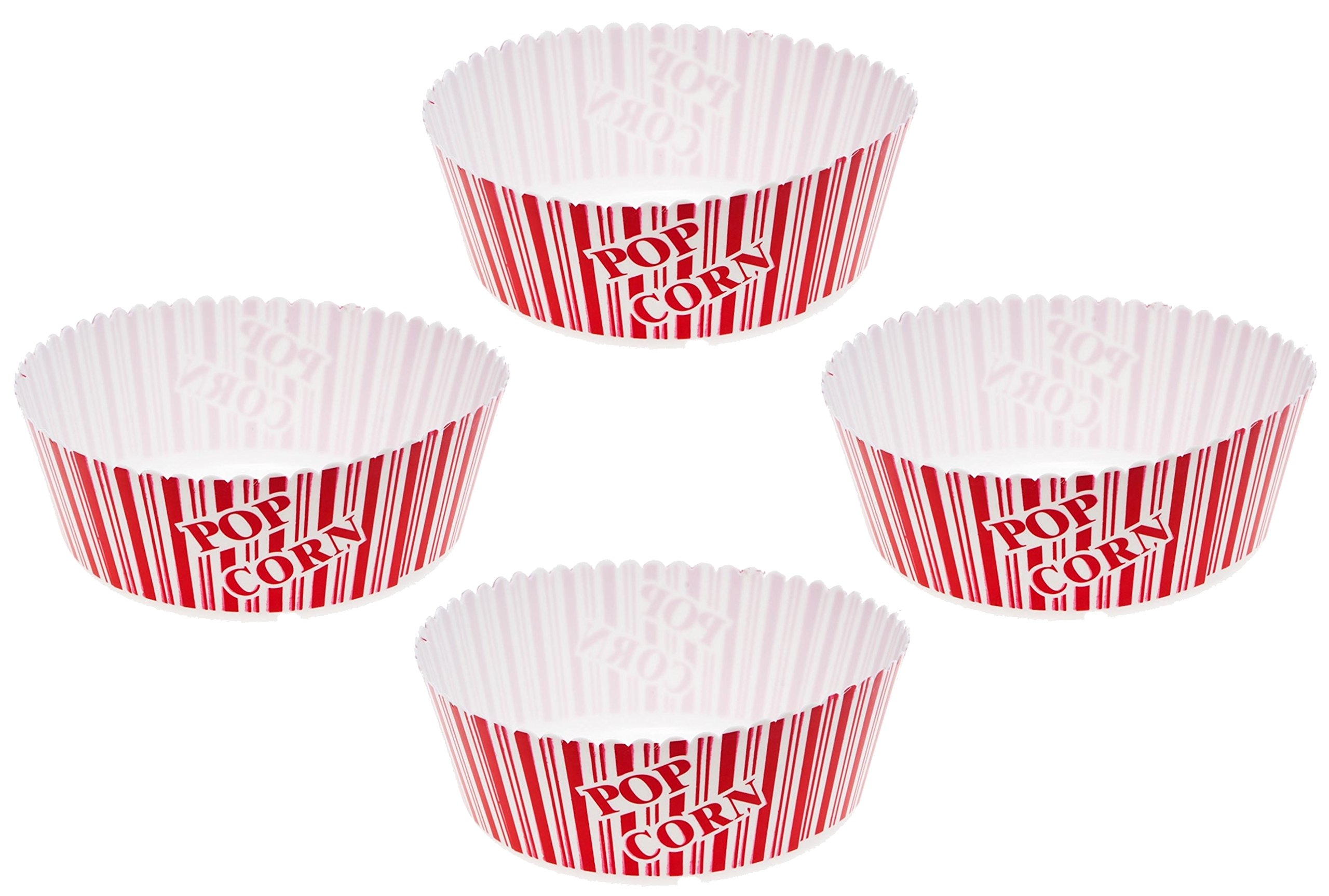 Cinima Style Plastic Theater Popcorn Bowl, Reusable, Large (Pack of 4)